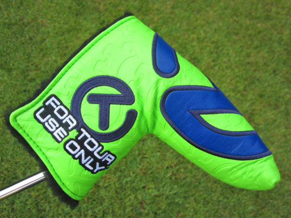 scotty cameron tour only lime green and navy blue industrial circle t tour bulldog headcover